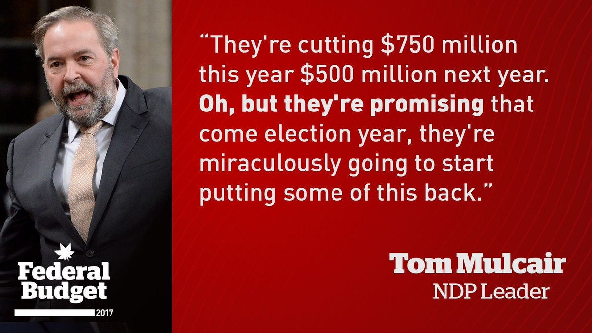 Tom Mulcair on the 2017 federal budget: https://t.co/LvOmw817Aa https:...