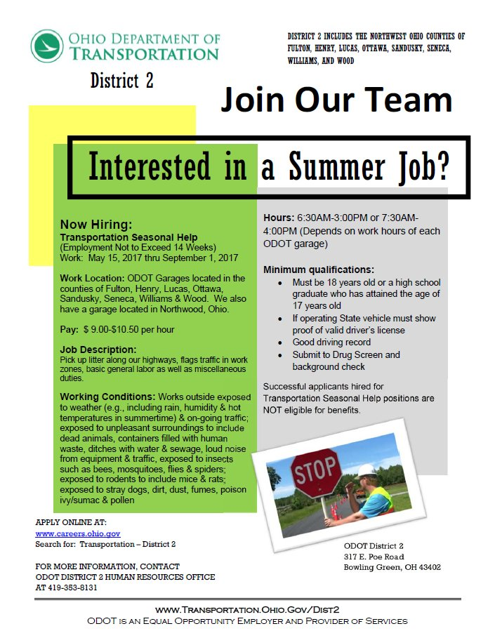Odot Toledo On Twitter Desire A Summer Job That Has Variety From Day To Day Check Out Job Opportunities Here Https T Co Vtqptvmowt Odotworks Workerwednesday Https T Co Pa7twz1hmv