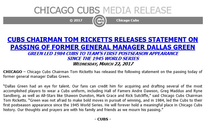 #Cubs Chairman Tom Ricketts on the passing of former GM Dallas Green....