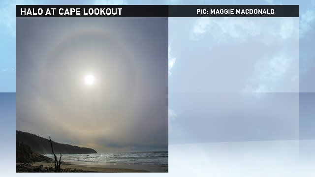 Great pic of the 23° halo around the sun Sunday by Maggie MacDonald at Cape Lookout @kgwnews #pdxtst #orwx<br>http://pic.twitter.com/4zgmjqJhfd