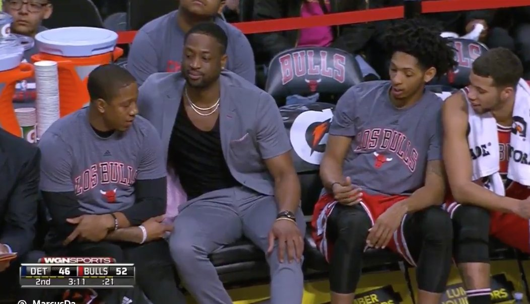 D-Wade is so done with being on the Bulls, absurd outfit for a 30 degr...