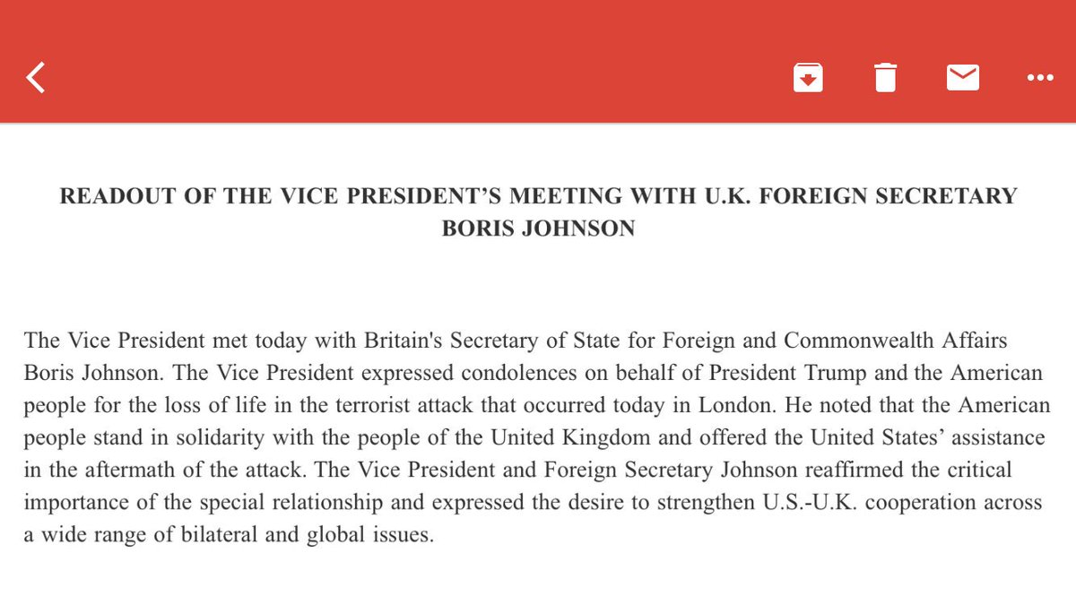 Readout of the Vice President's Meeting with U.K. Foreign Secretary Bo...
