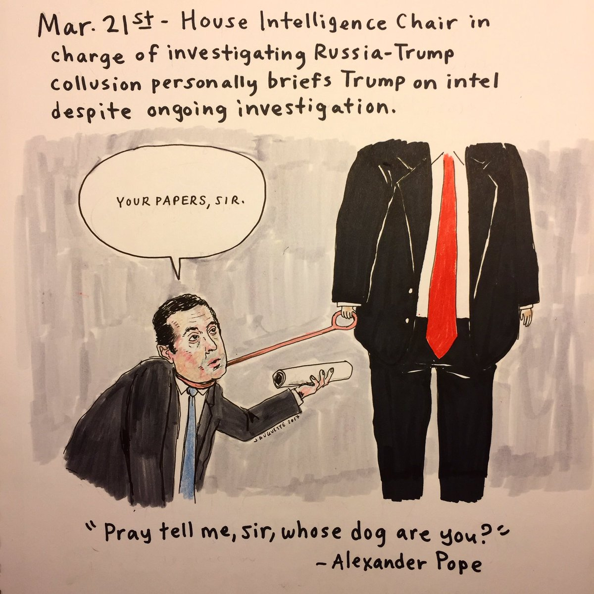 Day 61: In which House Intel Chief moonlights as faithful Presidential Errand Boy. #thedailydon #resist #thisisnotnormal #impeachtrump<br>http://pic.twitter.com/XI65qTKRRt