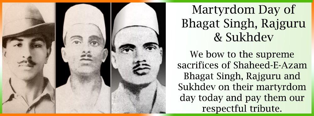Tributes to #BhagatSinghRajguruSukhdev on their martyrdom day. https:/...