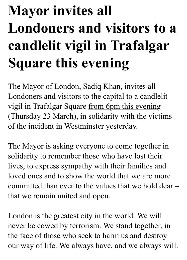 Mayor of London @SadiqKhan invites Londoners & visitors to a candl...