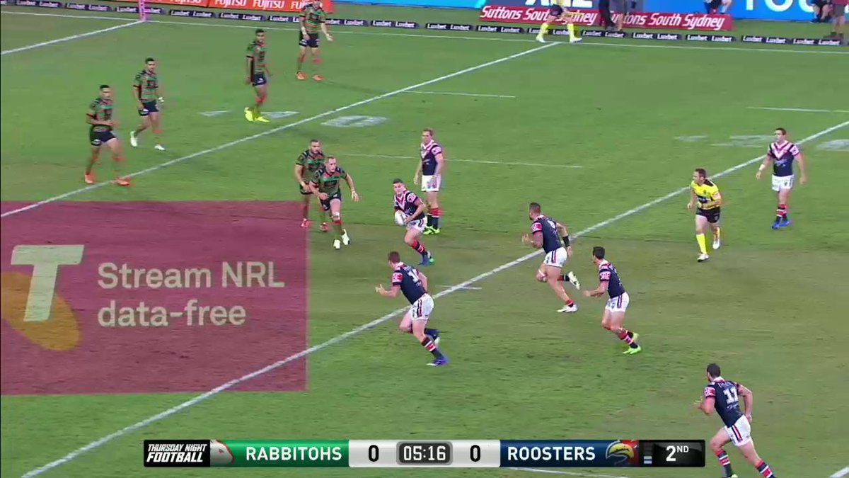 First points of the night go to the @sydneyroosters!  #NRLSouthsRooste...