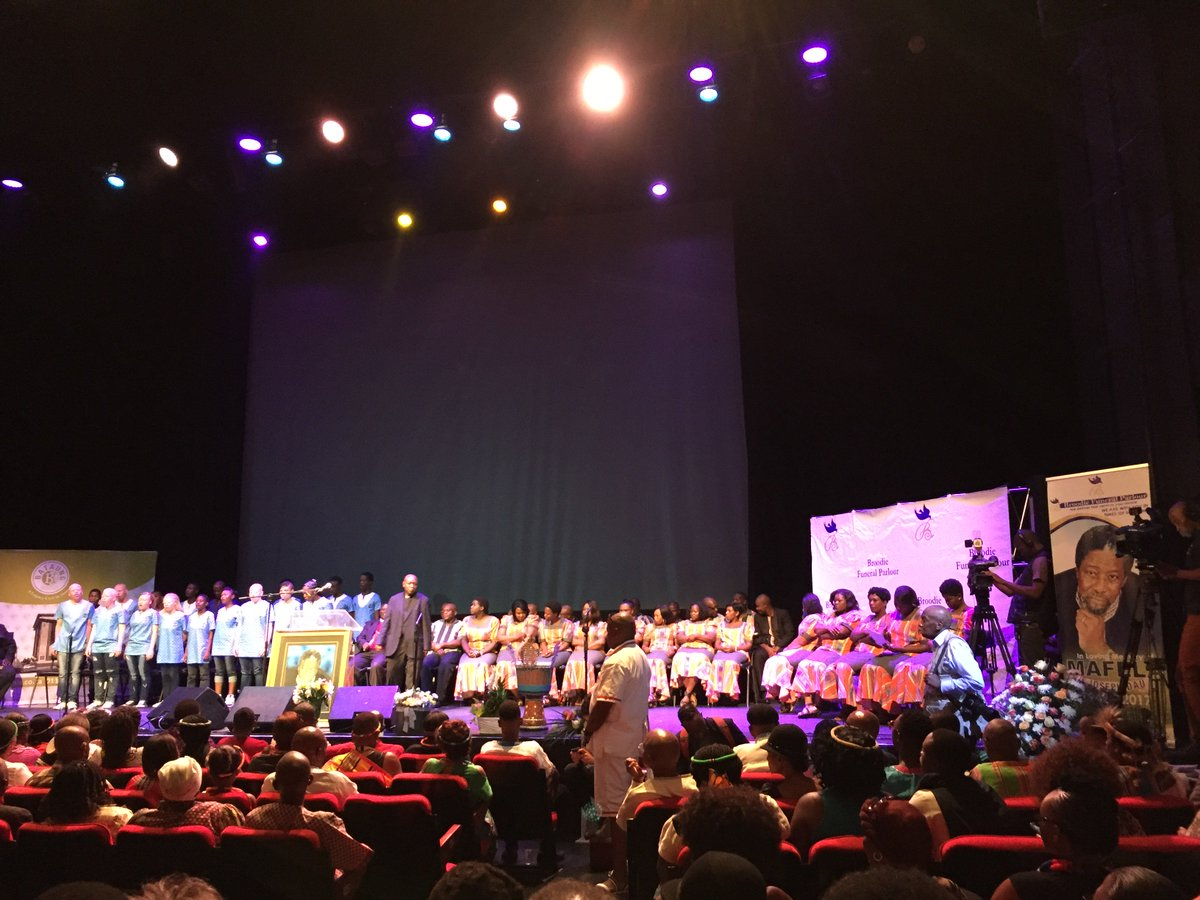 #JoeMafelaMemorial has commenced @joburgtheatre with the choir singing...
