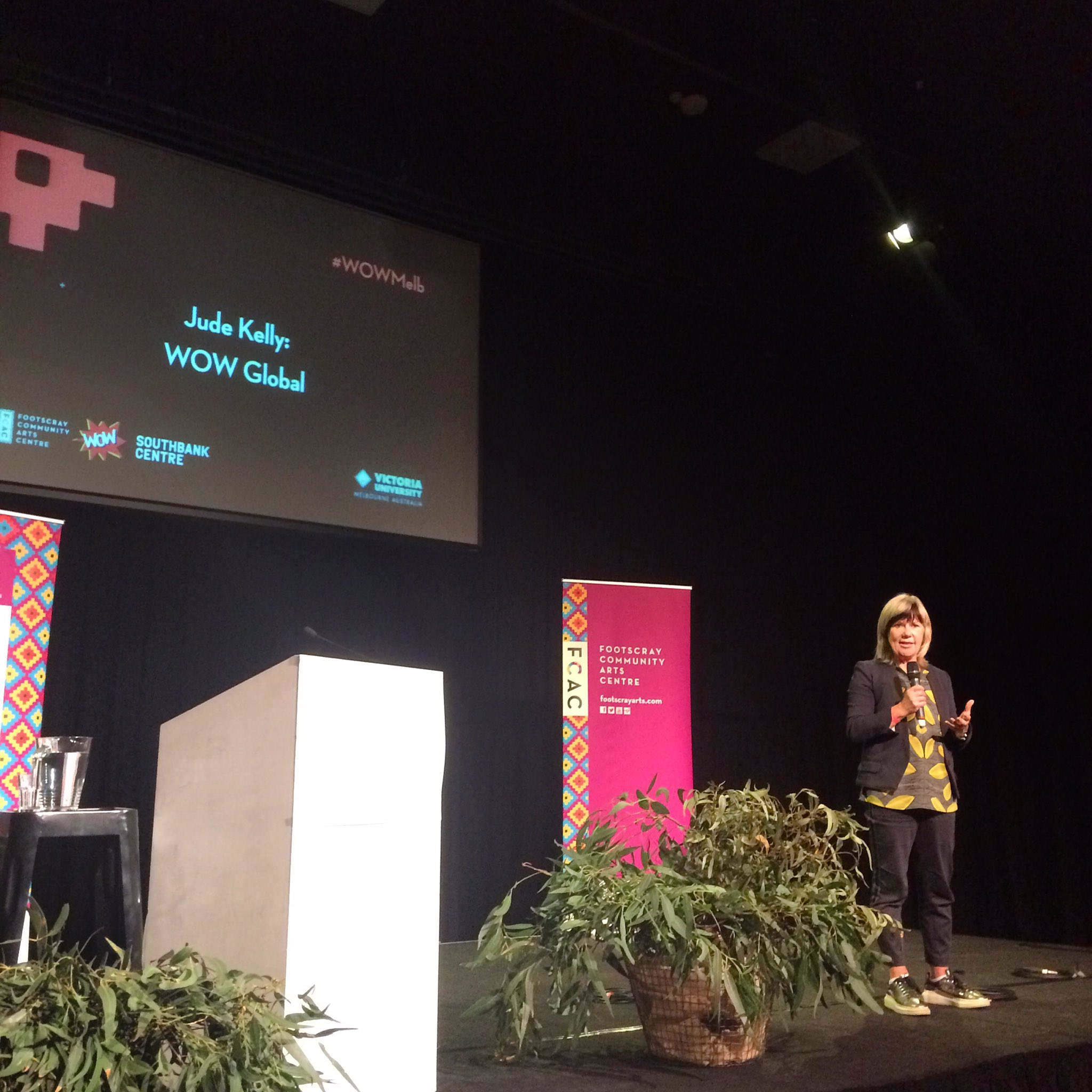 Our Artistic Director and Founder Jude Kelly CBE giving a keynote on the global WOW movement at #WOWMelb https://t.co/QDfKJzXcFN