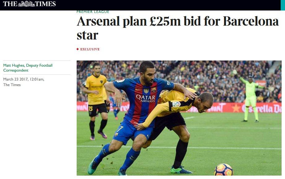 #Arsenal prépare une offre de €29M pour l&#39;ailier turc du FC #Barcelona, Arda #Turan (30) selon The Times<br>http://pic.twitter.com/P1CPTNCVij