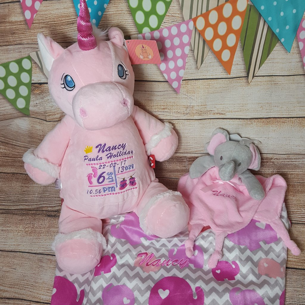 Baby set made for a lovely little lady #newborn #gift #personalised #newbaby #unicorn #pink #blanket #embroidery    http://Www. croftendembroidery.co.uk  &nbsp;  <br>http://pic.twitter.com/21GJlWFdhI