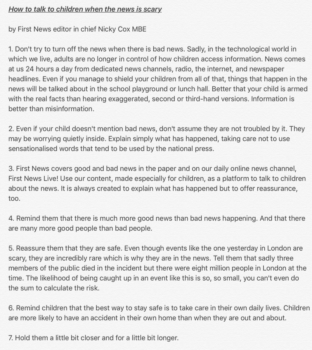 My 7 tips about talking to children when there is bad news. #Westminster #terrorattack https://t.co/3jgKT26K4P