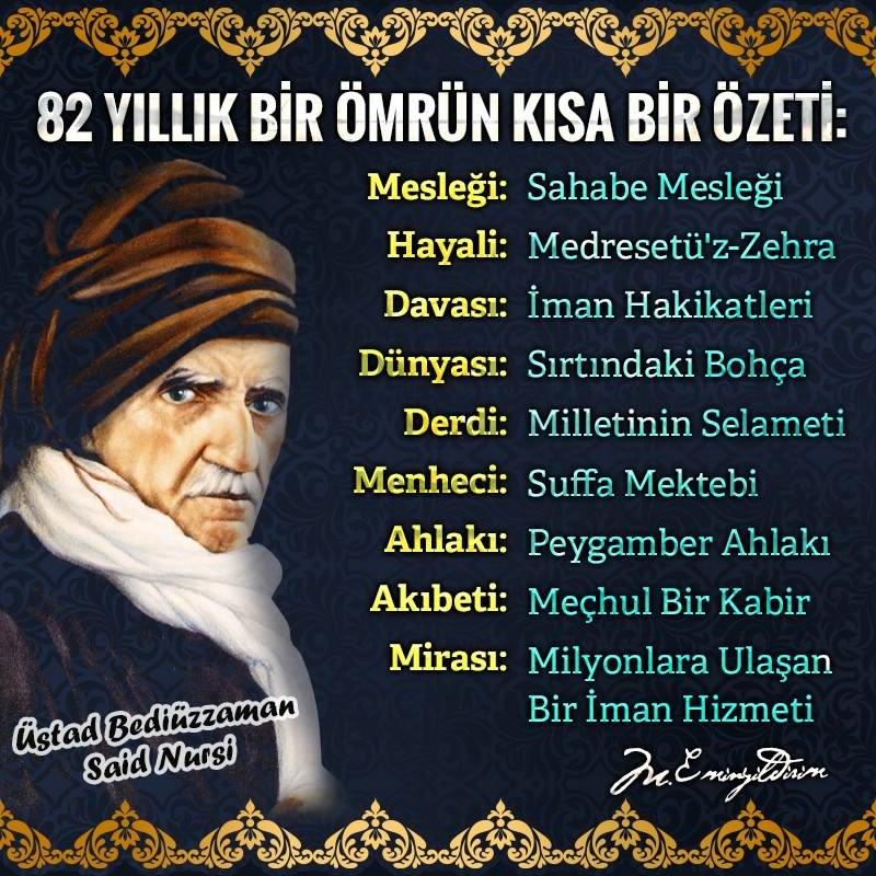 Vefatının sene-i devriyesinde Üstad Bediüzzaman #SaidNursi'yi rahmetle...