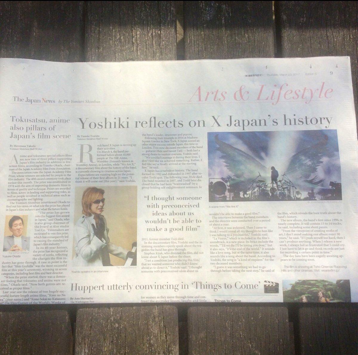 @YoshikiOfficial The Japan News  #Yoshiki  #interview #WeAreX  @JN_Japanese<br>http://pic.twitter.com/rHNGMrYTS6