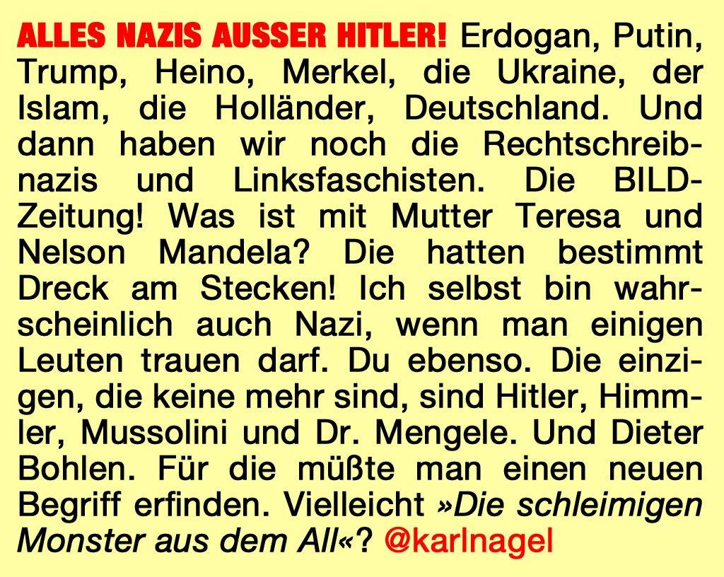 ALLES #NAZIS AUSSER #HITLER! #erdogan #putin #merkel #niederlande #trump #heino #mandela #ukraine @BILD @Claas_Weinmann<br>http://pic.twitter.com/fFUpPok5ti