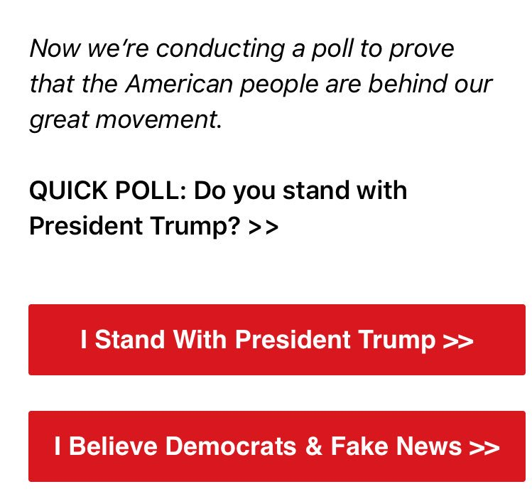 Actual email sent out by Trump Headquarters