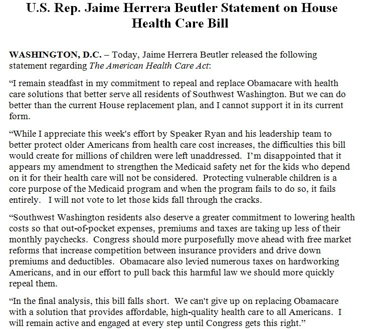 Another 'no' on GOP House plan -- Rep. Jaime Herrera Beutler (R-WA), p...