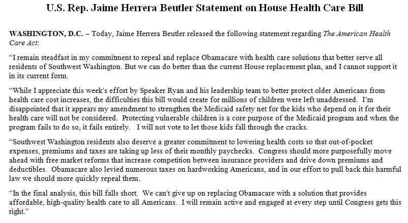 ANOTHER MODERATE NO on House GOP healthcare bill --> Rep. Jaime Her...