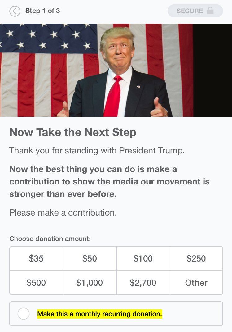 Trump ends the 'poll' by begging for money (which you should give him to spite the lyin' media)