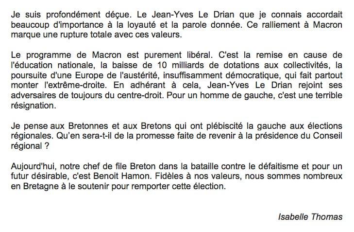 Réaction à la décision de Jean-Yves #LeDrian de rejoindre Emmanuel #Macron #Hamon2017