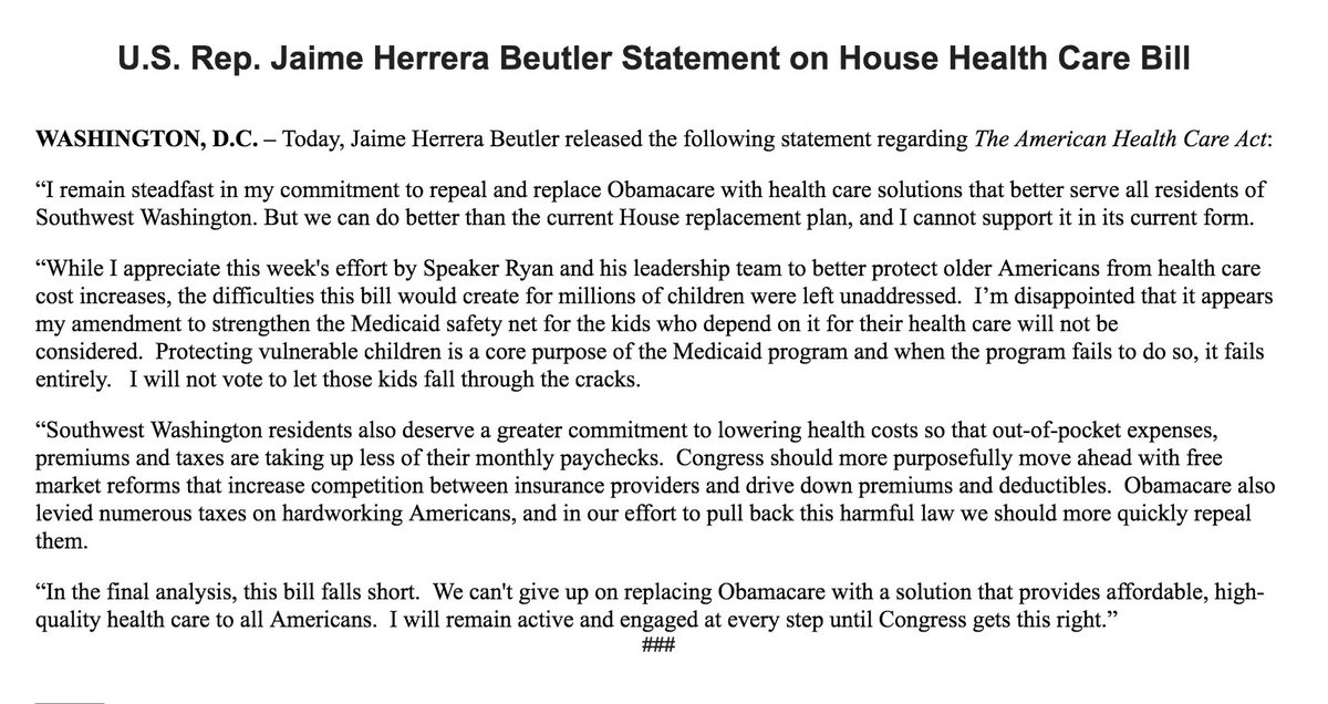 "Rep. Jaime Herrera Beutler (R-WA) is a ""no"" on GOP health care bill. T..."