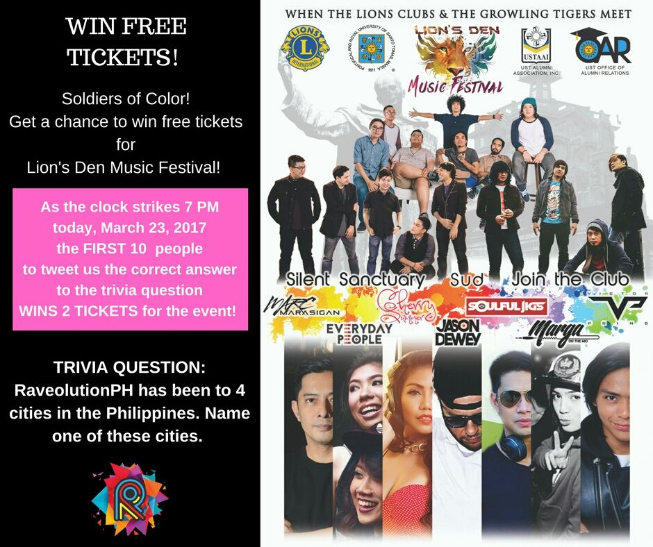Lion's Den Festival : Answer the trivia question and WIN 2 Tickets for the event! Contest starts at 7pm today! https://t.co/zObjFwN0bo