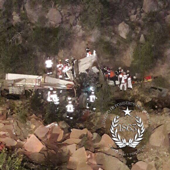 RT @cbsantiago Más imágenes de la #emergencia en Camino a Farellones y Camino Minera La Disputada. Una persona fallecida.