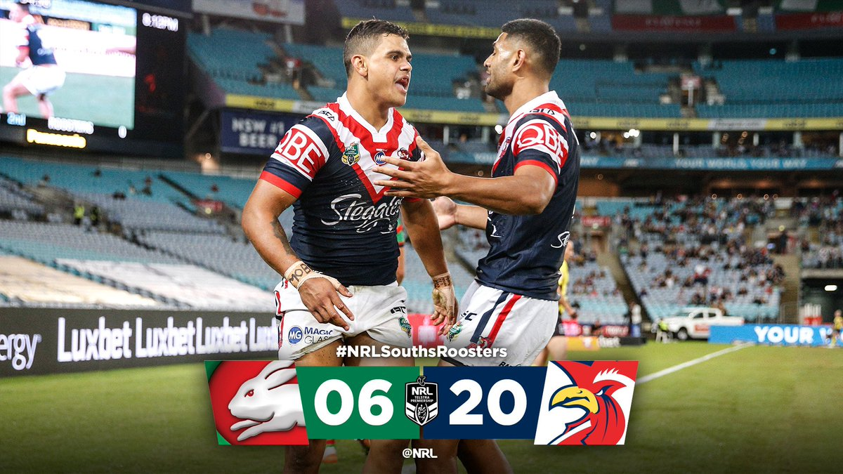 FT at ANZ Stadium and the @sydneyroosters remain unbeaten!  #NRLSouths...