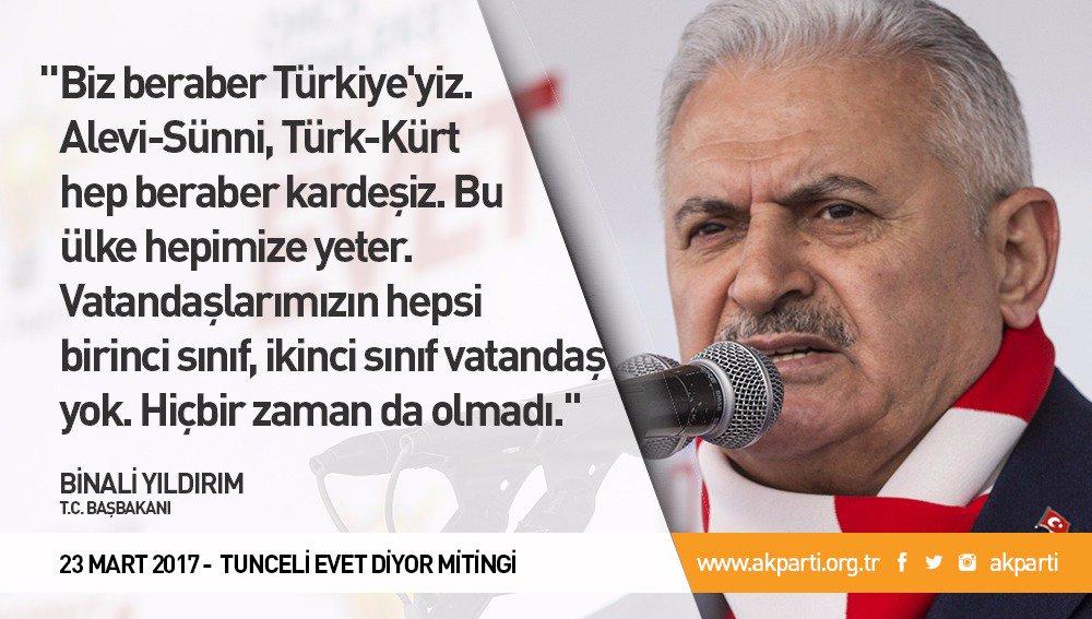 'Biz beraber Türkiye'yiz. Alevi-Sünni, Türk-Kürt hep beraber kardeşiz....