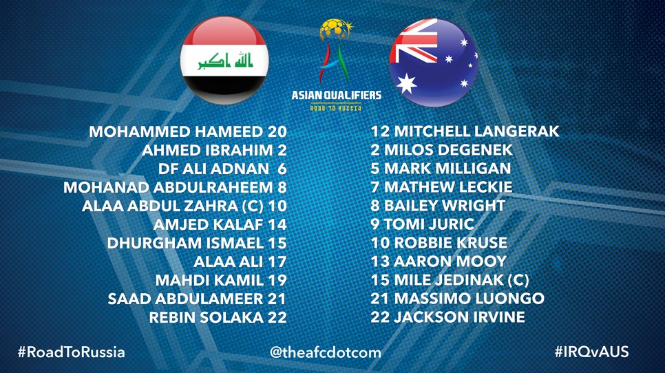 🇮🇶🇦🇺 Starting lineups for Iraq vs @Socceroos! #RoadToRussia #WCQ2018 #...