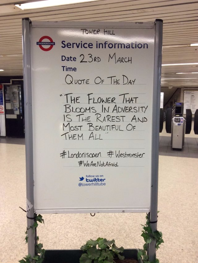 London Tube stations post defiant messages of strength after terror at...