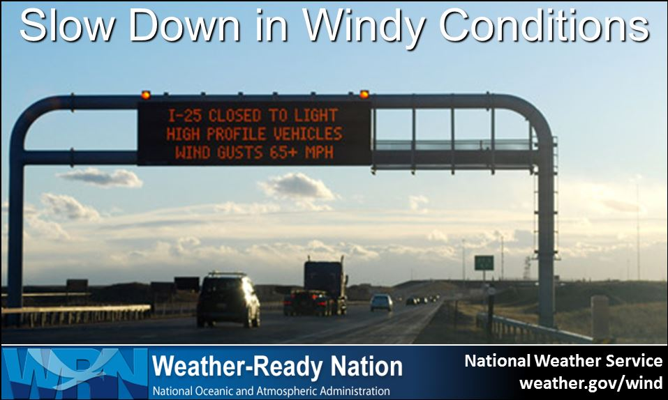When windy: slow down, keep two hands on the wheel, avoid large trucks...