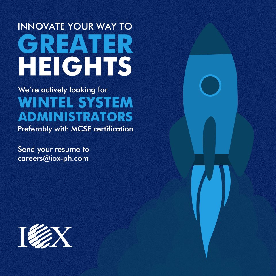 iox iox ph twitter ioxph is hiring wintel systemadministrators in makati send your application to careers iox ph com lnkd in e7d5vxg itcareerspic twitter com
