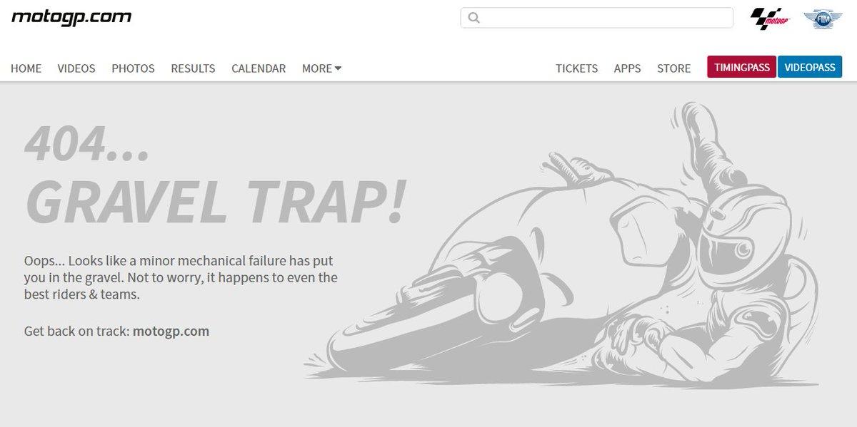 La 404 de @MotoGP est juste géniale  #error #crash #MotoGP #geek <br>http://pic.twitter.com/A3FrbitgjR