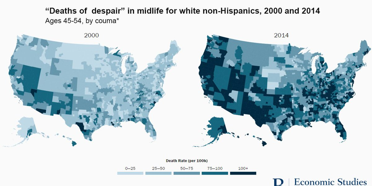 This map shows the huge surge in 'deaths of despair' since the year 20...
