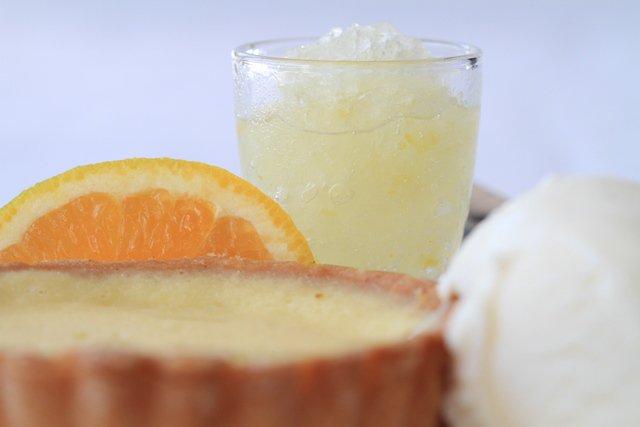 . Citrus Tart, served with a shot of lemon vodka granita and vanilla ...