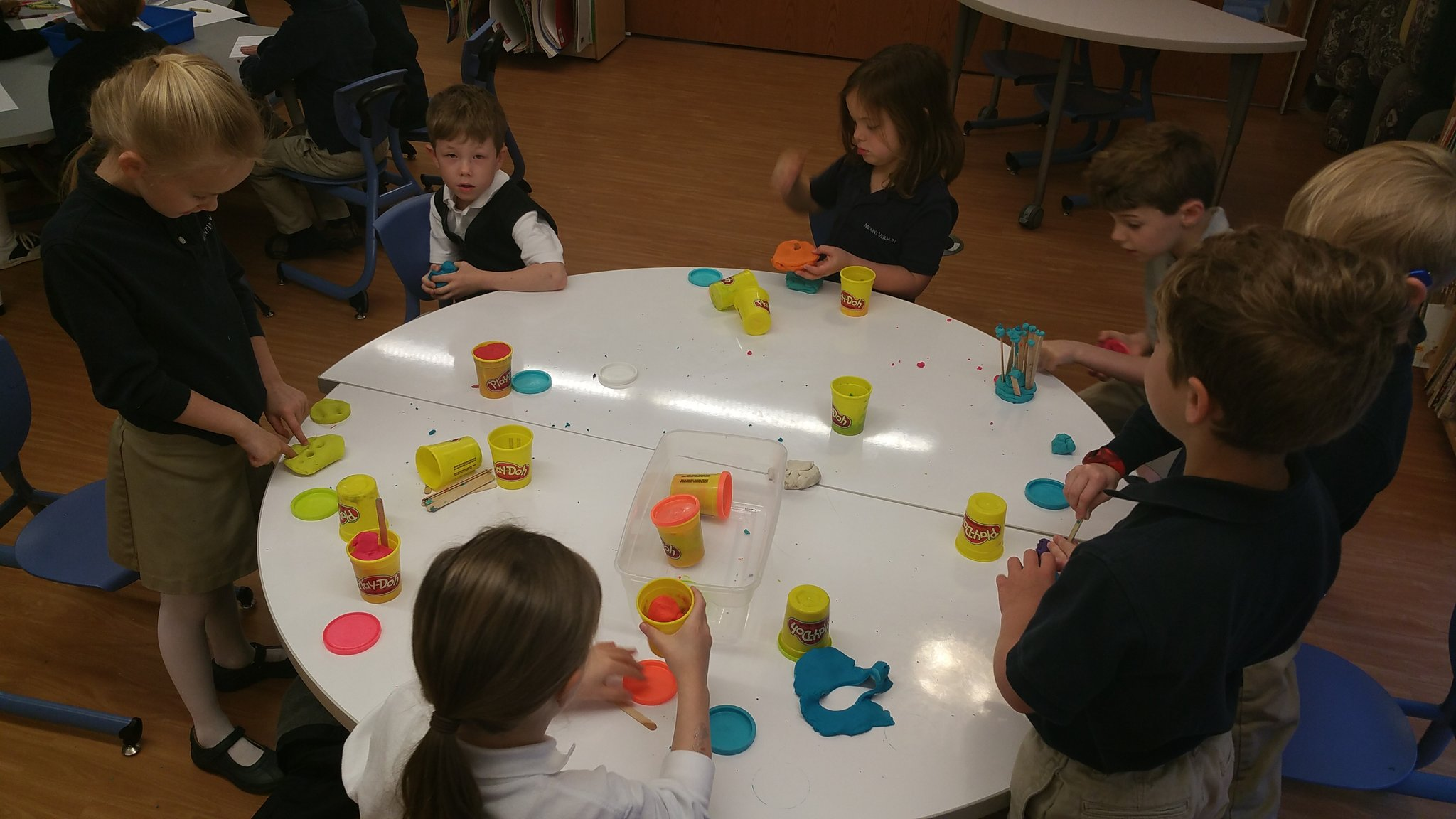 """The candy shoppe is closing!"" #kidquote (Confession: I love the smell of @PlayDoh!) #kinderchat #MVPSchool #learningwalk https://t.co/OQVSIgbLTx"