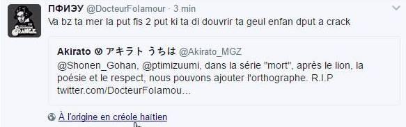 Parce qu&#39;en fait le créole haïtien, c&#39;est le langage de celles et ceux qui ne savent pas écrire une phrase compréhensible en français #Troll <br>http://pic.twitter.com/UQ3tSNtAOj