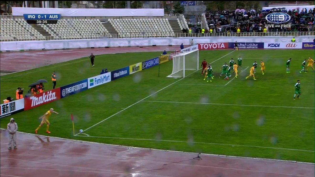 GOAL @Socceroos! #IRQvAUS 0-1 39' Mathew Leckie heads one away to put...