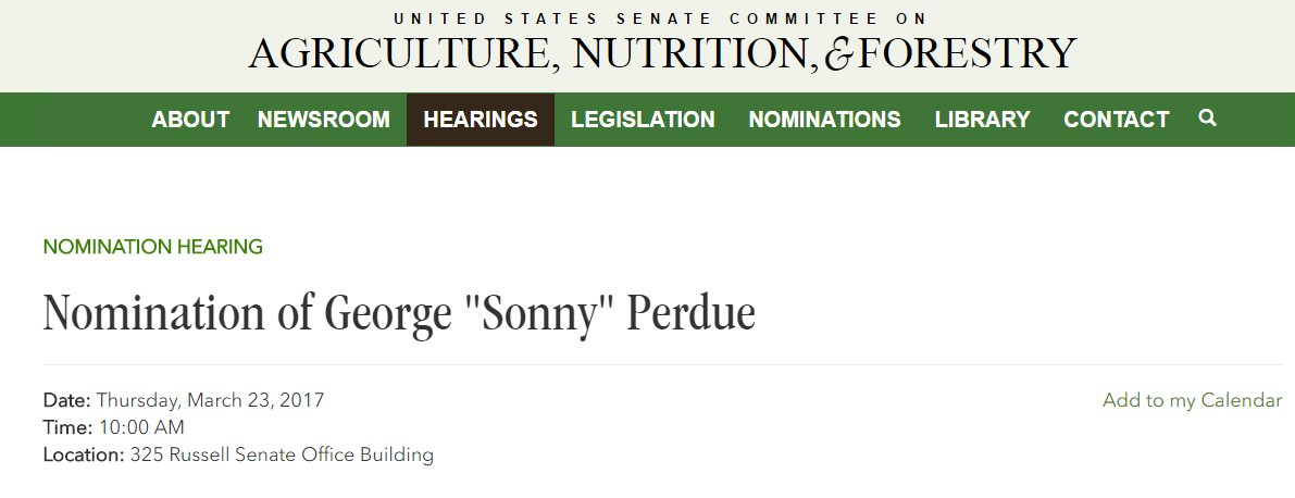 #TrumpTransition ALERT Sonny Perdue Secretary of Agriculture Hearing @ 10am  STREAM&gt;&gt;&gt;&gt; https://www. agriculture.senate.gov/hearings/nomin ation-of-george-sonny-perdue &nbsp; … <br>http://pic.twitter.com/OQ0nhCL23a