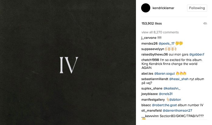 might be getting kendrick's fourth album sooner than we thought 👀 👀 👀...