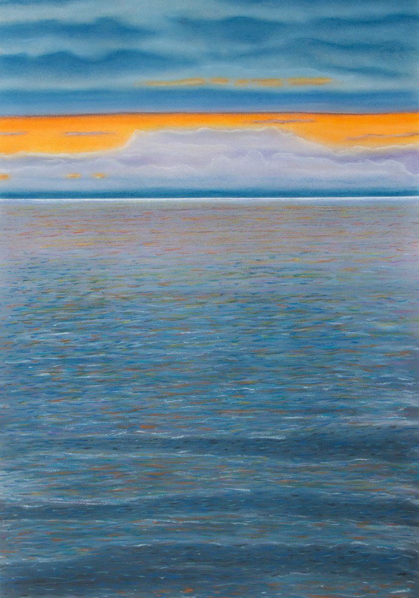'Calm sunset' by @StefanFier #art #seascape #pastel #drawing #painting...