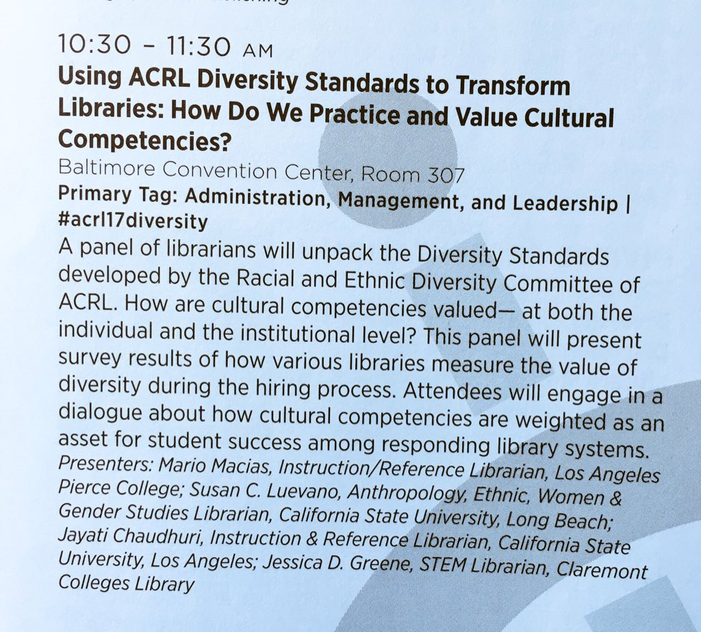 my team's panel focuses on Hispanic Serving Institutions (tomorrow 10:30, Rm 307) #acrl2017 #critlib17 https://t.co/f5lb0wkuVQ