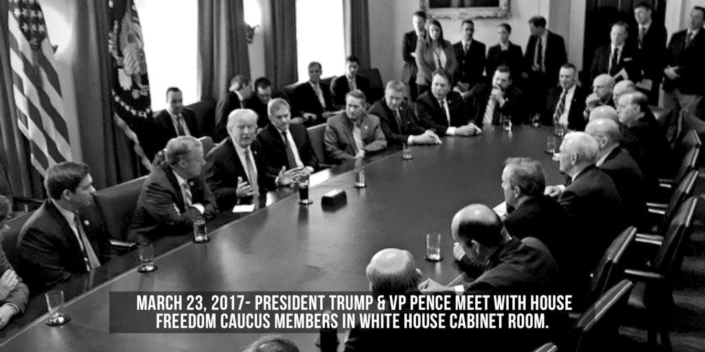 .@POTUS @realDonaldTrump and @VP Pence meet with Freedom Caucus member...