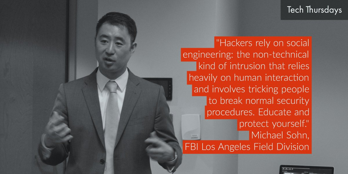 FBI Special Agent and #cybersecurity expert Michael Sohn offers practical advice for small-med-sz businesses at #techthursdays #atthechamber