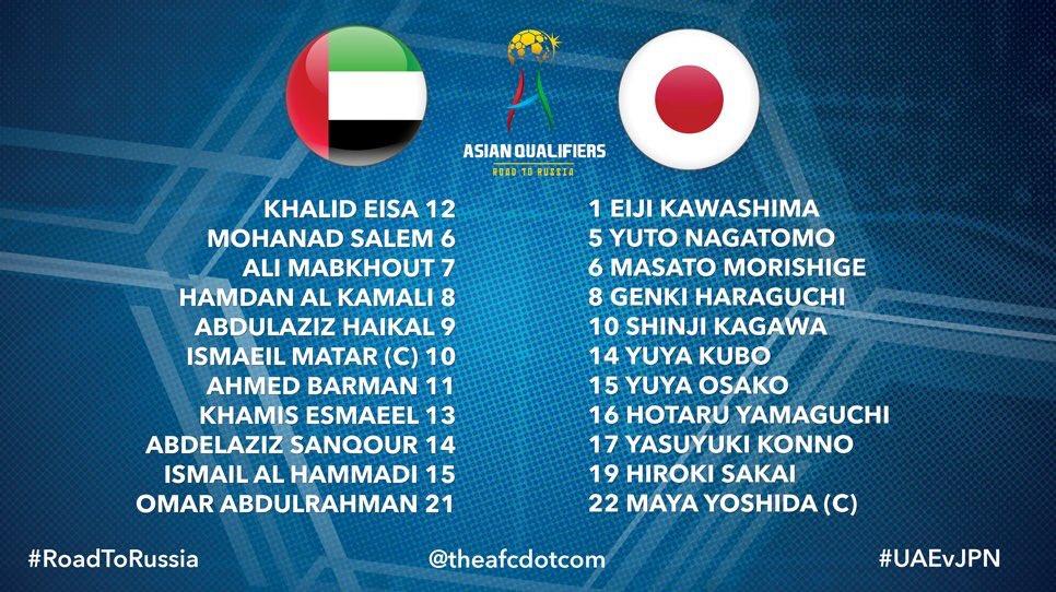 تشكيلة المنتخب الوطني والمنتخب الياباني لمباراة اليوم #الإمارات_اليابا...