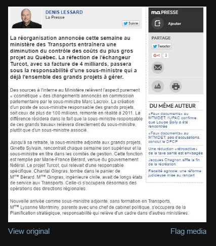 Voici l&#39;article ou on apprend que #MTQ engage une sous Minis.Adj.SANS FORMATION EN TRANSPORT mais PARENTE avec CHEF CABINET #polqc<br>http://pic.twitter.com/abL4jNa09g