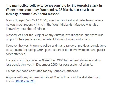 Attacker named - 52 year-old Khalid Masood. Born in Kent, with a strin...