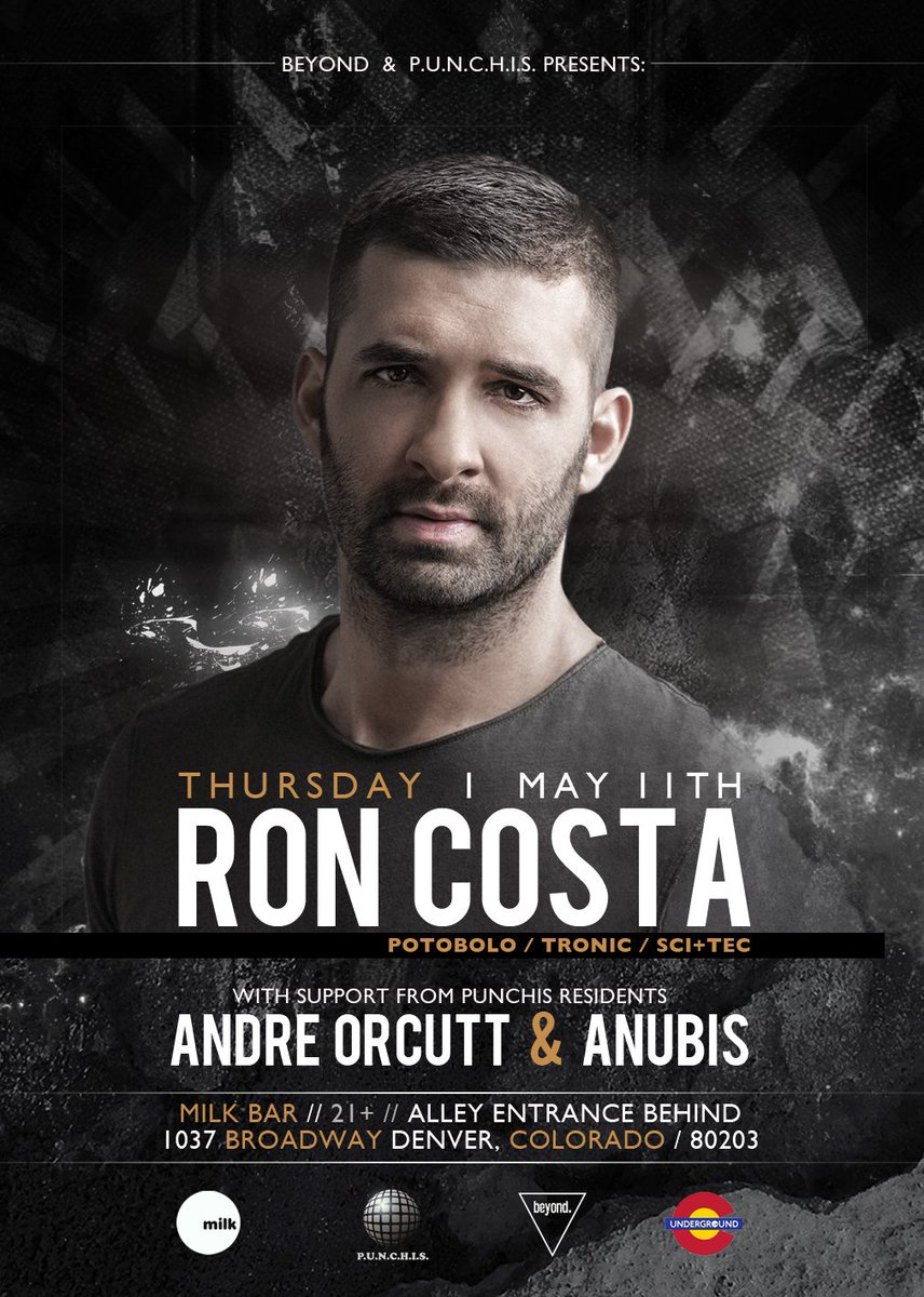 Upcoming:  4.14 @dunityofficial  4.21 Idana &amp; @_MichaelRosa_  5.11 @djroncosta  #Denver #Techno #Music #Nightlife #Colorado #Beyond #Events<br>http://pic.twitter.com/t8Vz1IWWH5