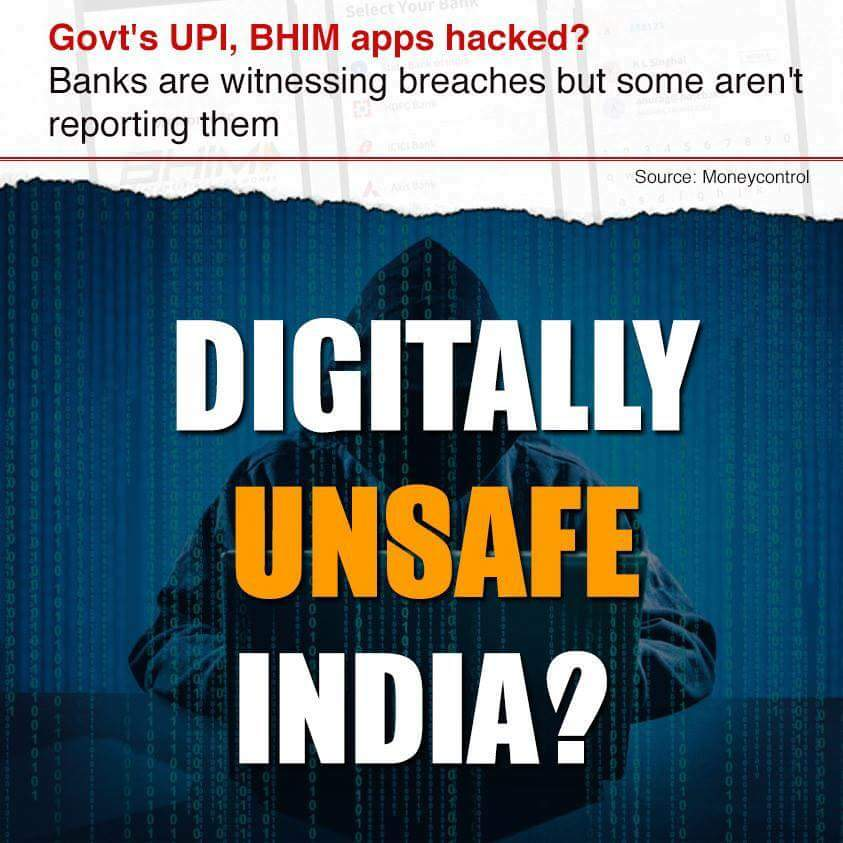 #BJP Govt huffed and it puffed, but couldn&#39;t safeguard #UPI , #BHIMApp  apps from hackers. How secure do you feel? @INCIndia @TelanganaPCC<br>http://pic.twitter.com/HLtlTORsDC