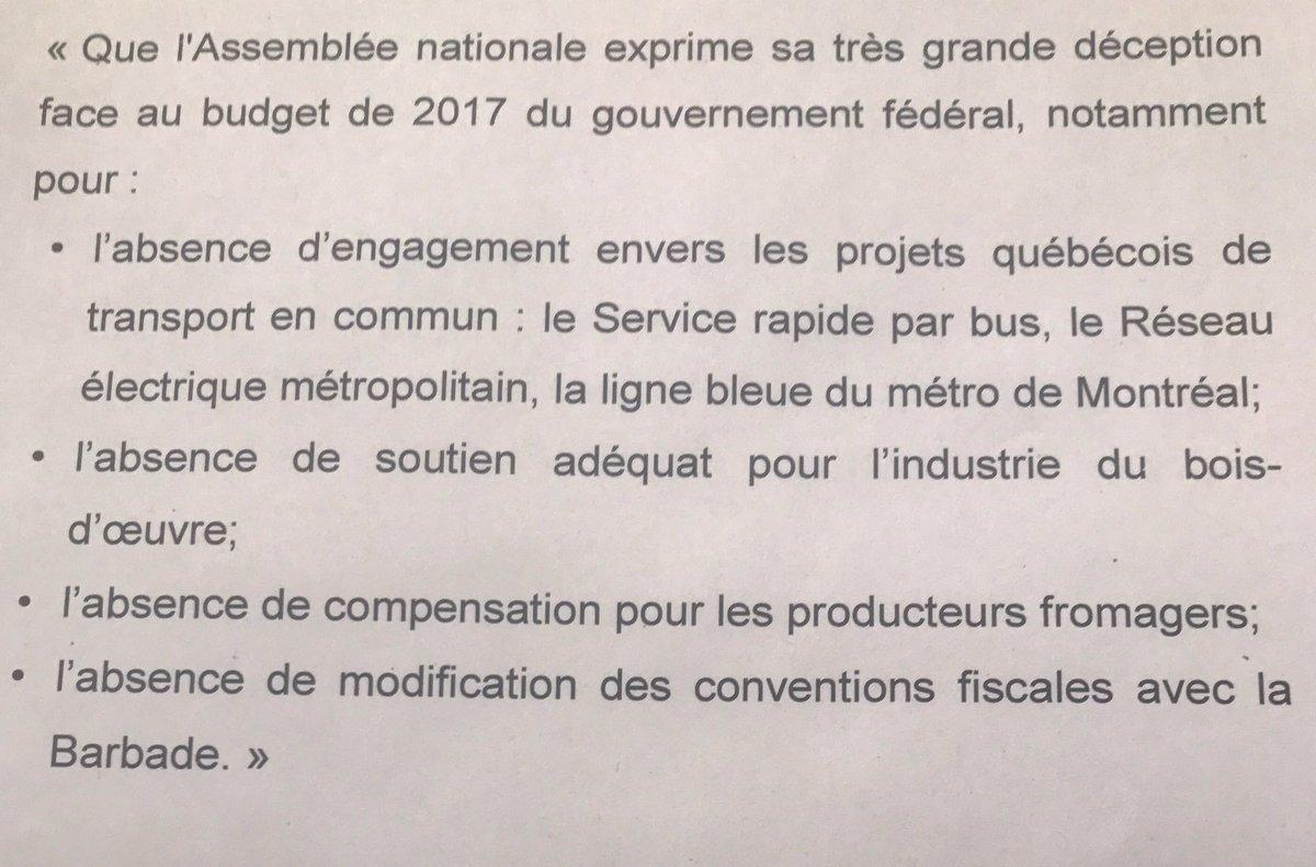 L&#39;Assemblée Nationale a adopté une motion dans laquelle elle exprime sa très grande déception face au budget fédéral ... #polqc #assnat #pq <br>http://pic.twitter.com/FLnt06xnBY
